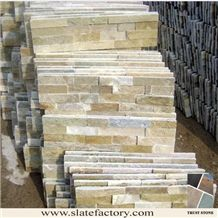 Beige Quartzite Stacked Stone Veneer, Golden Yellow Quartzite Stacked Stone Wall Cladding