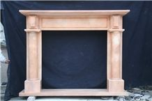 Leeste Red Pink Marble Fireplace