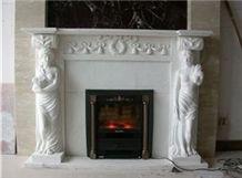 Hunan White Marble Fireplace
