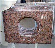 Chinese Red Granite Maple Red Vanity Tops Bathroom Countertop