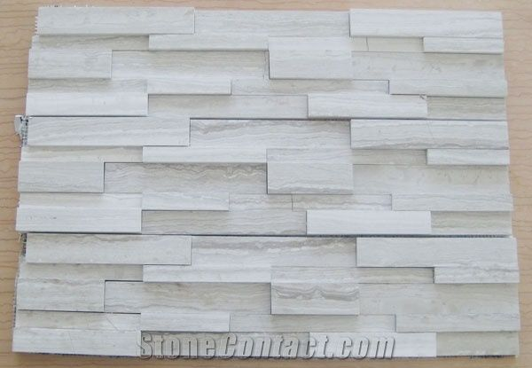 Split Face Mosaic Tiles White Grey Marble Mosaic From