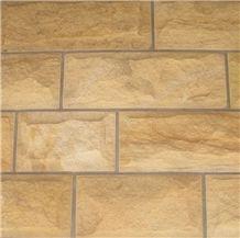 Quintanar Sandstone Mashroomed Wall Cladding, Quintanar Yellow Sandstone Mushroom Stone