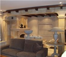 Quintanar Vein Sandstone Fireplace, Quintanar Yellow Sandstone Fireplace