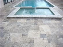 Classic Silver Tumbled Coping with Silver French P, Silver Grey Travertine Pool Coping
