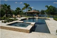Classic Torreon Travertine Honed & Filled Pool Cop, Beige Travertine Pool Coping