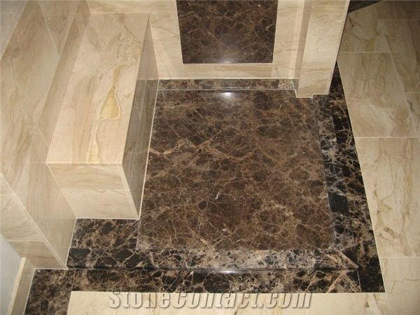 Emperador Dark And Daino Reale Floor Tiles Spain Brown