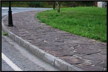 Xisto Marron Slate Irregular Flag Walkway, Xisto Marron Brown Slate Cobble, Pavers