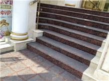 Red Granite Stairs and Steps, Ladoga Red Granite Stairs