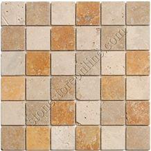 Golden Sienna, Tuscany Tumbled Travertine Mosaic, Tuscany Light, Noce Travertine Mosaic
