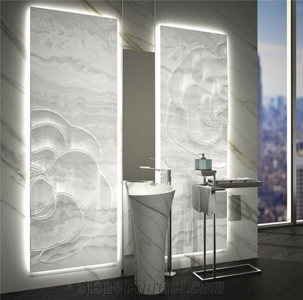 Inlaid Backlit White Onyx Wall Panels Onice Bianco Avorio