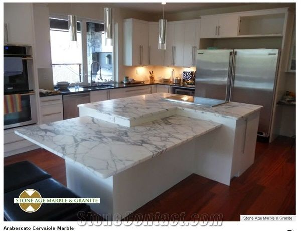 Arabescato Cervaiole Marble Kitchen Island Top, Arabescato Cervaiole White Marble  Kitchen Island Top