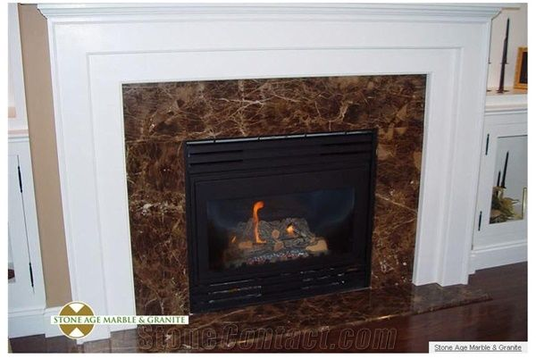 Marron Imperial Fireplace Frame Emperador Dark Brown