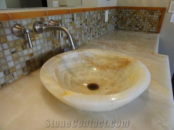 White Onyx Bathroom Countertop Vessel Basin Baja White