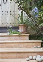 Jerusalem Rose Limestone Outdoor Steps, Jerusalem Rose Pink Limestone Steps