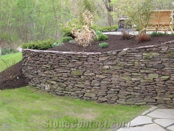 Stacked Fieldstone Garden Retaining Wall Pennsylvania