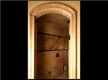 Uxmal Limestone Bathroom Door Frame, Uxmal Red Limestone Door Frame
