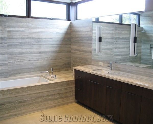 Bathroom Remodeling With Travertino Silver Grey Travertine Bath Design