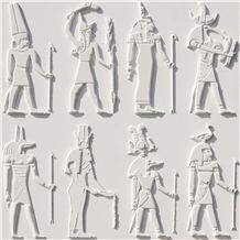 Perla Bianca Limestone Ancient Egypt Figure Relief, Perla Bianca White Limestone Relief