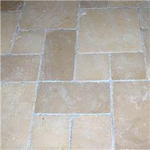 Avorio Limestone Opus Romano Pattern, Trani Unito Limestone Tiles