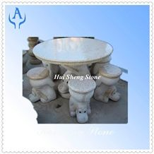 Granite Beige Garden Table, Beige Granite