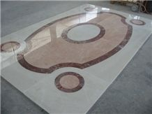 Avorio Venato and Rosso Levanto Inlayed Floor, Avorio Venato Limestone Tiles