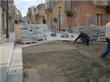 Chiselled Paving Stone Of Nerello Di Custonaci-Nerello Trachyte