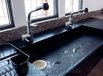 India Black Soapstone Kitchen Drop-In Sinks - StoneContact.com