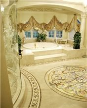 Luxury Bathroom with Portofino Medallion, Botticino Classico Beige Marble Bath Design