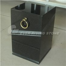 Black Granite Square Vase