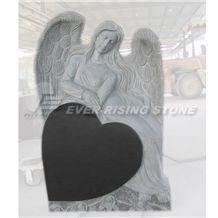 China Shanxi Black Granite Memorials Angel on Hear