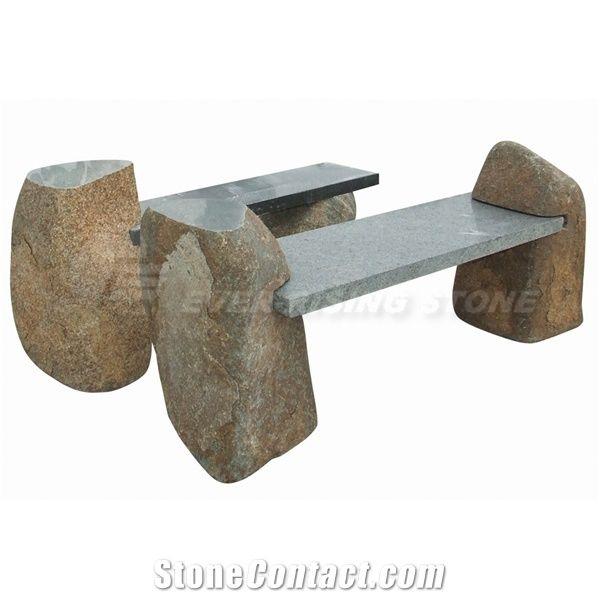 Ordinaire Natural Stone Garden Benches, Grey Granite Garden Bench