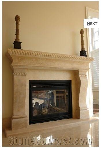 Florence Italian Antique Fireplace Mantel Crema Fiore Beige