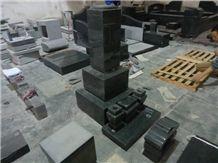 Japanese Style Tombstone 02, Black Granite Japanese Style Tombstone