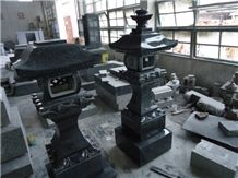 Japanese Style Tombstone 03, Black Marble Japanese Style Tombstone