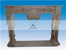 Travertine Fireplace Dog Design, Hubei Beige Travertine Fireplace