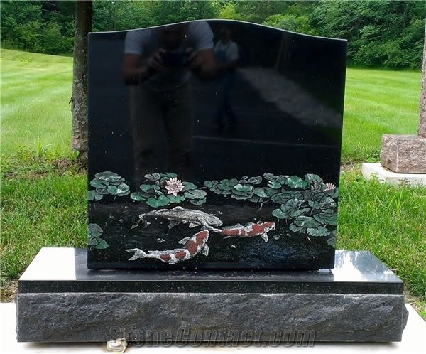 India Absolute Black Granite Etched Headstone From United