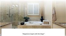 Noce Travertine Tumbled Bathroom Wall, Noce Brown Travertine Bath Design