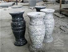 G654 & G603 Granite Vase Monument Accessories, G603 Grey Granite Urn, Vase, Bench