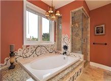 Zefran Beige Travertine Bathroom Design