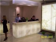 Translucent Onyx SPA Reception Counter, White Orange Beige Onyx Reception Counter