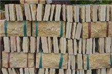 Beige Marble Split, Chiseled Mushroomed Wall Tiles, Indo Marfil Beige Marble Mushroomed Wall