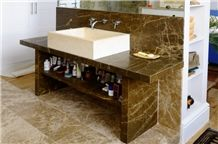 Ambrato Marble Vanity Top, Ambrato Marble Flooring, Ambrato Brown Marble Bath Design