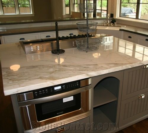 calacatta gold marble kitchen countertop