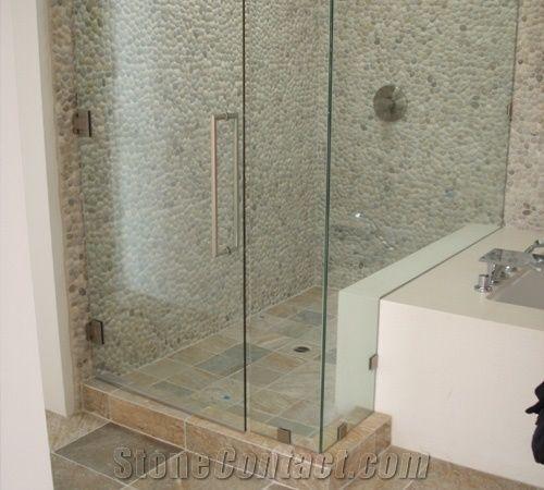 Pebble Stone Mosaic Wall Bathroom