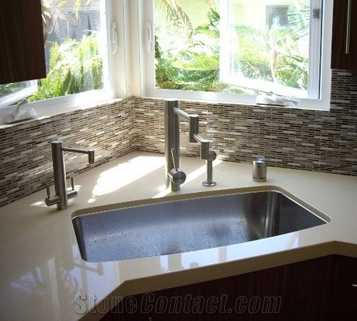 Quartz Stone Countertop Glass Mosaic Backsplash From