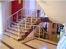 Turkey Rosso Lepanto Marble Stairs, Turkey Rosso Lepanto Red Marble Stairs