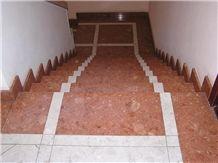 Red Zygmuntowka Limestone Stairs