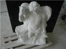 Eros Omnia Vincit Sculpture with Afyon White Marbl, Afyon White Marble Sculpture