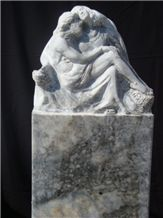 Pieta - Tiger Skin Marble Sculpture, Tiger Skin Grey Marble Sculpture