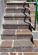 Rosso Porfido Andriano Steps, Porfido Andriano Red Granite Steps